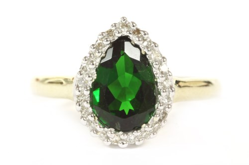 Lot 11-A 9ct gold pearl shaped chrome diopside and diamond cluster ring
