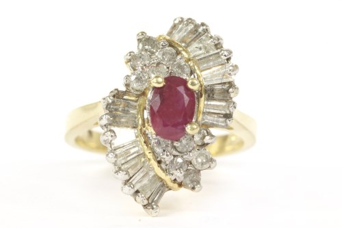 Lot 18-A ruby and diamond cocktail ring