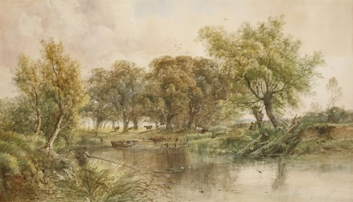 Lot 722-Henry Earp (1831-1914) A FISHERMAN AND CATTLE BY A RIVER Signed l.r.