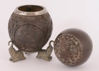Lot 358-An Indian carved coconut shell