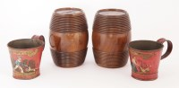 Lot 363-A pair of Sorrento ware turned wooden barrels