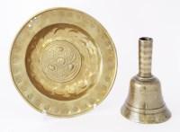 Lot 365-A pressed brass alms dish