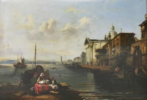 Lot 335-Circle of Edward Pritchett (1808-1876) A VENETIAN SCENE Inscribed 'Venice' l.l.
