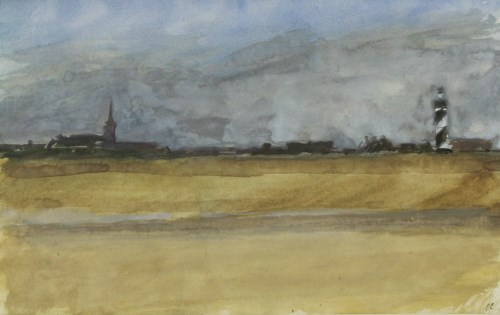 Lot 350-*Peter Coker (1926-2004) VIEW OF A COASTAL TOWN Signed with initials l.r.