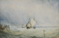 Lot 352-Circle of John Callow (1822-1878) FISHING BOATS OFF THE COAST Watercolour 24 x 35.5cm