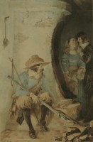 Lot 353-C... Whilbin (19th century) A STOLEN KISS - CAVALIERS AND A KITCHEN MAID IN AN INTERIOR Signed l.l.