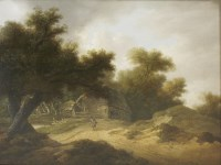 Lot 375-John Rathbone (1750-1807) A WOODED LANDSCAPE WITH A FIGURE BY THE BARN Oil on panel 27 x 34cm