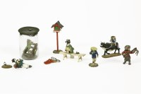Lot 81 - Eight Japanese cold painted bronze miniature figures