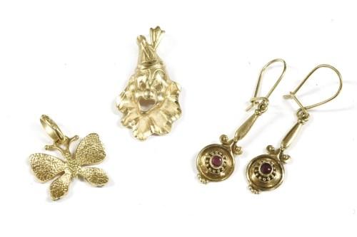 Lot 8-A Continental gold polychrome enamel butterfly pendant