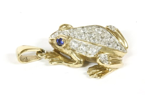 Lot 19-A 9ct gold colourless cubic zirconia set frog pendant