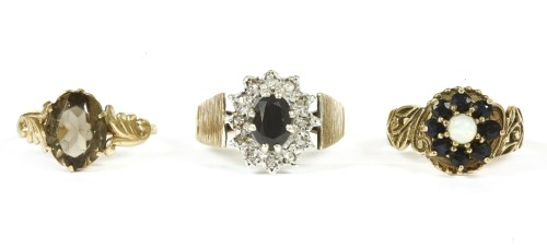 Lot 4-A 9ct gold sapphire and diamond cluster ring