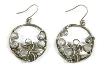 Lot 26-A pair of Arts & Crafts style silver circular moonstone drop earrings