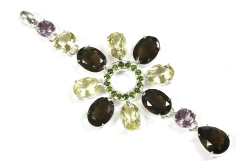 Lot 21-A silver mixed quartz and diopside pendant