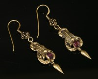 Lot 39-A pair of Victorian gold garnet drop earrings