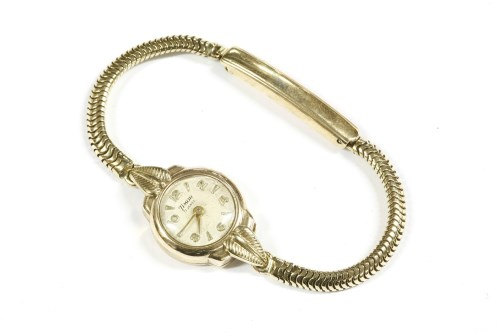Lot 2-A ladies 9ct gold Timor mechanical strap watch