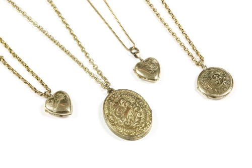 Lot 25-A 9ct gold heart shaped locket on a box link chain