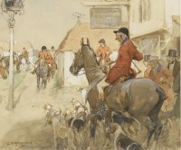 Lot 4-*George Denholm Armour (1864-1949) TO THE MEET AT THE CAT AND CUSTARD POT Signed l.l.