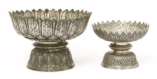 Lot 1021-Two silver stem bowls