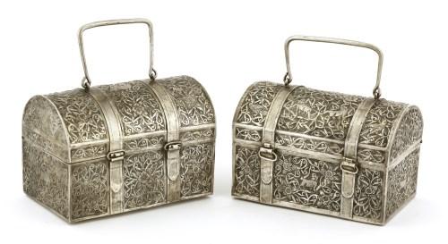 Lot 1008-Two Thai silver caskets