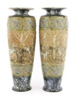 Lot 23-A pair of Royal Doulton stoneware vases