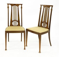 Lot 17-A pair of Art Nouveau mahogany inlaid hall chairs