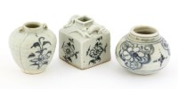 Lot 1045-A group of three Chinese blue and white jarlets