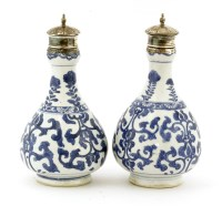 Lot 45A-A pair of Chinese blue and white bottles