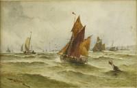 Lot 726-Thomas Bush Hardy (1842-1897) SAILING BOATS AT SEA Signed and dated 1891 l.l.