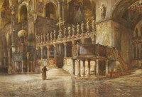 Lot 734-William Hardy Smith (1840-1922) FIGURES IN A CATHEDRAL Signed l.l.