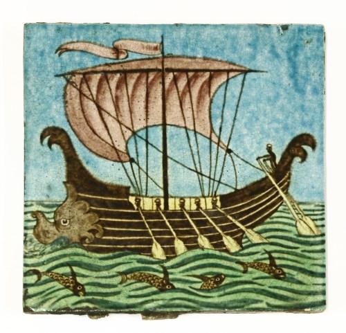 25 - A William De Morgan 'Galleon' tile