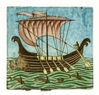 Lot 25-A William De Morgan 'Galleon' tile