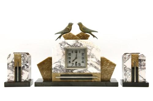 Lot 639-Art Deco marble clock garniture