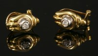 Lot 49-A pair of 18ct gold single stone diamond stud earrings
