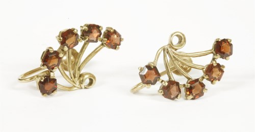Lot 16-A pair of garnet spray earrings