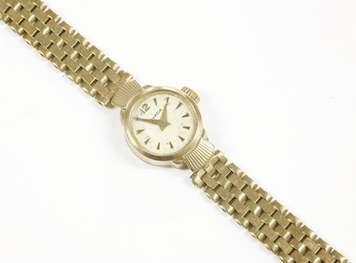 Lot 14 - A ladies 9ct gold Nivada bracelet watch