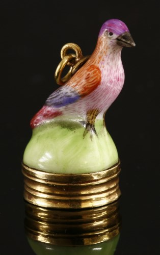 Lot 18-A hand-painted porcelain bird seal