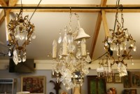Lot 664-A pair of French design gilt metal chandelier