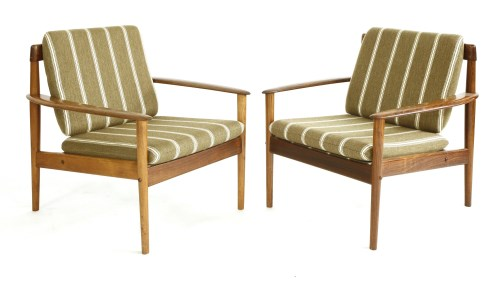 Lot 474-Two rosewood 'Model 56' easy chairs