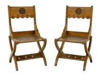 Lot 1-A pair of oak hall chairs