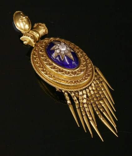 Lot 38-A Victorian diamond and enamel Etruscan Revival gold pendant