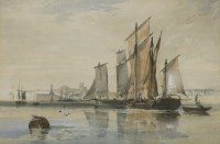 Lot 354-Richard Principal Leitch (1827-1882) FISHING BOATS OFF MARGATE Watercolour heightened with white ...