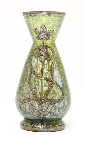 Lot 47 - A Loetz iridescent glass and silver-mounted glass vase