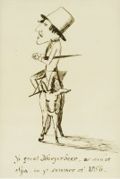 Lot 745-Follower of Edward Lear  'YE GREAT MEYERBEER AS SEEN AT SPA IN YE SUMMER OF 1856' - A CARICATURE OF GIACOMO MEYERBEER Inscribed with title