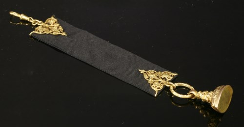 Lot 13-A late Victorian gold-mounted ribbon fob