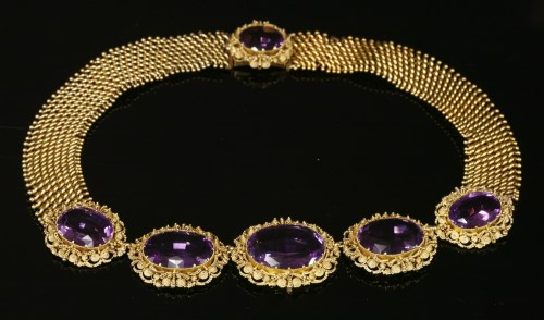 Lot 26-A gold cased Georgian amethyst and gold cannetille necklace