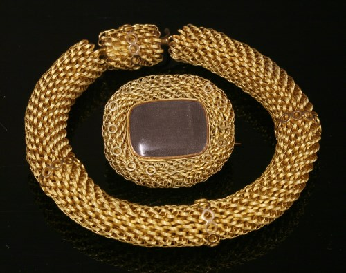Lot 29-A Georgian or Regency mesh link bracelet and matching brooch/pendant