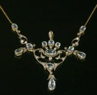 Lot 84 - A cased Edwardian aquamarine and diamond necklace