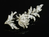 Lot 74-A cased diamond set en tremblant spray brooch