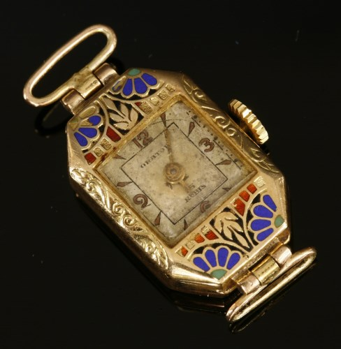 Lot 14-A ladies 9ct gold Art Deco Orator mechanical watch head