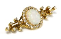 Lot 63-A late Victorian opal and diamond bar brooch